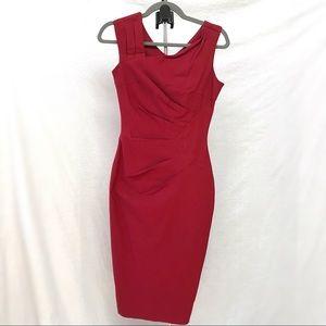 Women's Red Sleeveless Slim Business Pencil Dress